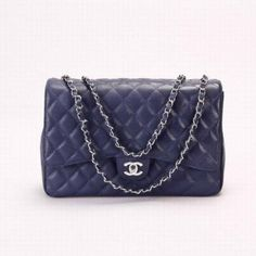 Chanel 2.55 36071 Soft Grained Royalblue Silver Chain Bag.  Love this one that @Brenda Kovar has...