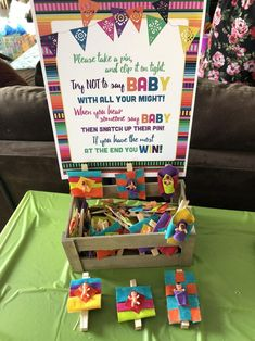 Fiesta Theme Party Discover Fiesta Baby Shower Clothespin Game Dont Say Baby Game Clothespin Game Sign Fiesta Baby Shower Sign Mexican Fiesta Papel Picado Serape Mexican Theme Baby Shower, Fiesta Baby Shower, Baby Shower Niño, Baby Shower Signs, Baby Shower Gender Reveal, Baby Shower Games, Baby Shower Parties, Mexican Party, Baby Gender