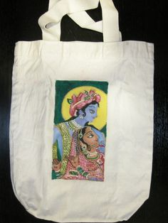 Hand painted white canvas bag with a picture of Radha and Krishna (Indian Gods)