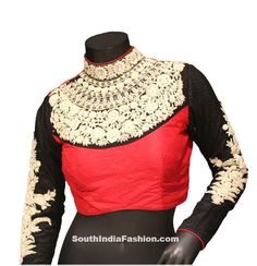 Classy Maharani Saree Blouse – Beautiful black and Coral Red embroidered Maharani saree blouse intricate with resham thread, sequins work, neck work, floral work, leaf work and stone Blouse Designs High Neck, High Neck Blouse, Saree Blouse Designs, Blouse Styles, Blouse Patterns, Indian Attire, Indian Wear, Indian Outfits, Indian Dresses