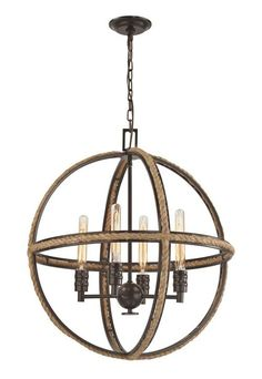 An impressive rustic-nautical inspired lighting fixture, this Natural Rope…