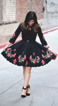 This casual chic Rose for Allure flare dress is just the fall go-to dress you need with its elegant pink rose embroidery and crocheted cutout trimming. Wear this versatile dress with stockings and ankle boots for relaxed or more formal occasions!  @chictalkch