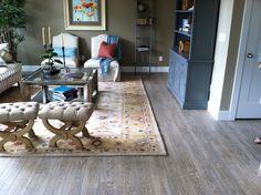 Mannington's Black Forest Oak laminate in a model home. Black Forest, Model Homes, Laminate Flooring, Herriman Utah, Family Room, Home Improvement, Gray Color, New Homes, Wood