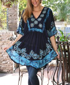 Navy & Turquoise Floral Peasant Tunic