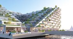 Bjarke Ingels Group (BIG) and Barcode Architects designed Sluishuis, a mixed-use sustainable building on the water in Amsterdam.