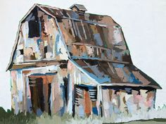 Oil Painting by Kate Mullin. Barn painting. Art. Oil. Thick Paint. Kate Mullin Art