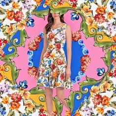 Think of sunny days with this sleeveless flared cotton dress, illuminated by red, yellow, blue and pink flowers. Available on the online store. Link in bio. Dolce & Gabbana, Fashion News, Fashion Beauty, Floral Frocks, Couture, Famous Brands, Runway Models, Cotton Dresses, Pink Flowers