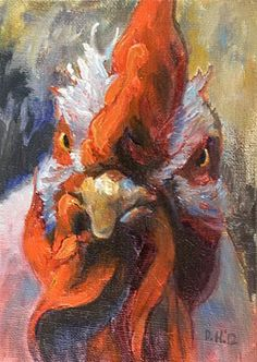 Rooster Animal Art Original Daily Oil Painting. $50.00, via Etsy.