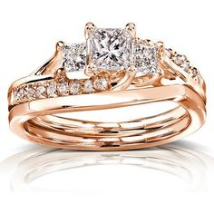 1 CT TW Diamond 14K Rose Gold Bridal Set