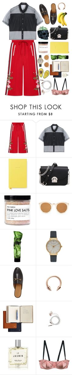 """Boss in sweatpants"" by sdarnai ❤ liked on Polyvore featuring Gucci, Christopher Kane, Kate Spade, Forever 21, Aesop, Olivia Burton, Mark & Graham, Nicole Miller, Miller Harris and sweatpants"