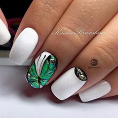 # White W/Emerald Butterfly Nail Creative Nail Designs, Beautiful Nail Designs, Creative Nails, Nail Art Designs, Butterfly Nail Designs, Butterfly Nail Art, Gorgeous Nails, Pretty Nails, Wonder Nails