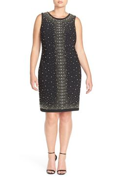 Chetta B Placed Bead Sleeveless Party Dress (Plus Size) available at #Nordstrom
