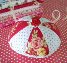 Pin Wheel Pin Cushion / Red And White / Polka Dot by DoesMeadow, $12.00