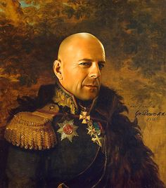 Steve Payne uses digital copies of paintings of Russian generals as a basis of his own work, replacing the generals' faces with a celebrity's face using Photoshop.