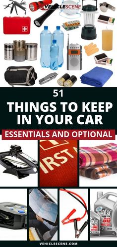 A checklist and guide to the most essential 51 car accessories and products to keep in your car, for safety, convenience and comfort, to help in emergencies or just to make your driving experience better. Emergency Preparedness Kit, Emergency Preparation, Car Safety Kit, Car Facts, Car Essentials, Keep On, Car Tools, Car Gadgets, Car Cleaning