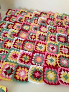 Cath Kidston style granny squares for blanket.