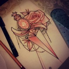 For Rosie #tattoo #design #dagger #rose #neotraditional #uktattoo #plymouth #art #igdaily