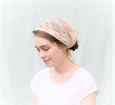 Soft Peach Lace Convertible Head Cover Veil Daily Ties