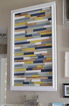 Check out this DIY Wood Shim Artwork! Tutorial on how to create your own art using wood shims. {UpcycledTreasures.com} #DIY #upcycle #woodshims