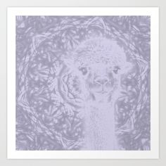 Ghostly alpaca and Lilac-gray mandala by Wendy Townrow, graphic-design,  abstract,   mandala,  kaleidoscope, lilac-gray,  gray,  alpaca,  ghost, animal , nature,  photo,  digital , illustration,  digital-design,  digital-manipulation,  zen, pattern,  collage,  happy,  peaceful , art, digital art, #buyart, #society6, #decor, room, home decor, wall decor, wall art, print