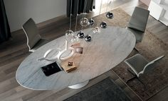 Marble top of the Reef dining table