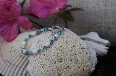 Aquamarine Crystal And Pearl Bracelet by Seasidesorelle on Etsy
