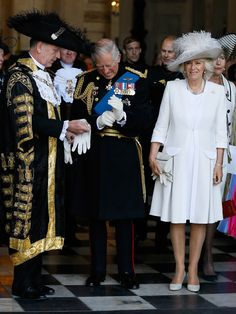 Prince Charles, Prince of Wales and Camilla, Duchess of Cornwall speak to the Lord Mayor of London, Alan Yarrow, left, following a commemoration service to mark the 200th Anniversary of the Battle of Waterloo, at St Paul's Cathedral on June 18, 2015 in London, England.