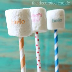 How to stamp marshmallows- Such a cute idea for large groups