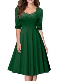 Sparkling YXB Damen Elegant Kurzarm Rockabilly Cocktailkleid retro 50er Jahre Stretch Party Kleid: Amazon.de: Bekleidung