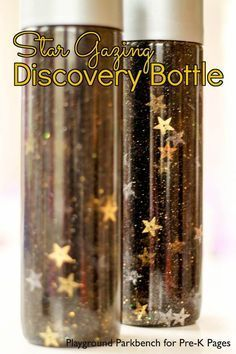 Star Gazing Discovery Bottles These star discovery bottles are perfect for a space theme in your preschool or kindergarten classroom Kids love to shake and look at the ni. Space Preschool, Space Activities, Preschool Science, Preschool Lessons, Sensory Activities, Activities For Kids, Science Area, Science Space, Sensory Bottles Preschool