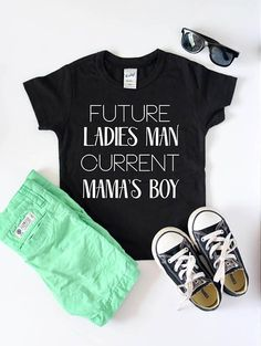 "Kids Shirts Boys Tee Funny T Shirt Toddler Shirt Future Mamas boy This boy's kids shirt with ""Future Ladies Man Current Mama's Boy"" is a short sleeve toddler t shirt and graphic tee. It is the perfect gift and is sure to have everyone asking you where you got this great funny shirt. Infant - toddler size t shirts are available. We use a high-quality unisex kids t-shirt."
