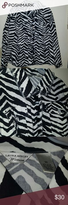 NWOT ZEBRA PRINT W/ EMBELLISHMENTS Laura Ashley 2X Gorgeous 2x 97% cotton 3% spandex ZEBRA Print button down Jacket with sequins around neck and pockets and jeweled embellishments down front, cuffs and pockets. It is a stunning jacket. New without tags. Moving and need to downsize. Laura Ashley Jackets & Coats