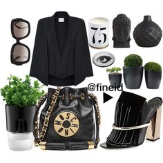 Elegant Black look by fineid on Polyvore featuring moda, Armani Collezioni, Proenza Schouler, Moschino, Valentino, Bodum, CB2, L'Objet, Rory Dobner and Nearly Natural