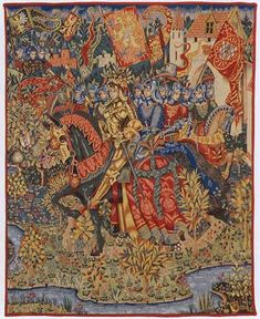 King Arthur and his Knights In a splendid suit of armour, King Arthur leads a procession of his Knights of the Round Table from Camelot, with banners flying and trumpets sounding, to depart on the Quest.