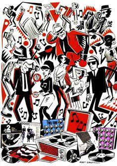 Two Tone Hunt Emerson art illustration ska music Two Tone Ska Punk, Genre Musical, Techno, Ska Music, Skinhead Girl, Skinhead Reggae, Skinhead Fashion, One Step Beyond, Laurel