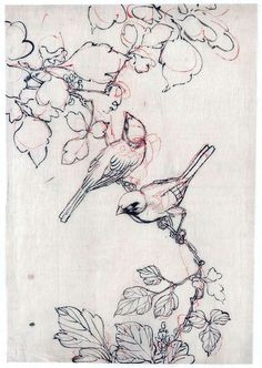 Birds on a branch, Japanese brush drawing  via vintageprintable.com