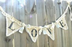 Love Shabby Romantic Wedding Banner of Burlap by tinkerscottage, | http://romanticelegancecollections.blogspot.com