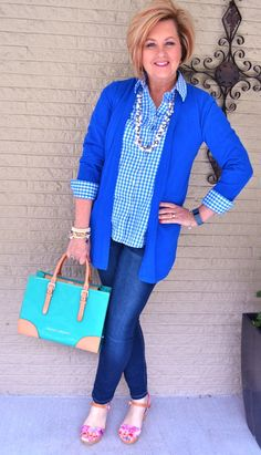 Hello Spring...blue gingham shirt, blue sweater and skinny jeans.  50 Is Not Old | Does More Expensive Mean Better