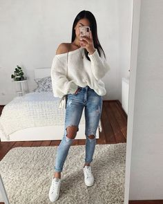 2019 Best Fall Styles and Sweet Winter Outfits for Teens - Ani Exclusive Cute Casual Outfits, Preppy Outfits, Girly Outfits, Mode Outfits, Simple Outfits, Outfits For Teens, Summer Outfits, Vacation Outfits, Instagram Look