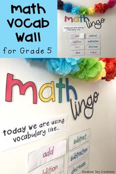 These math vocabulary cards & display are a teaching tool to help introduce new & familiar language to your students in mathematics. Cards only contain one word (no confusing definitions) so they can easily refer to them during lessons or problem solving. Use cards as a changing word wall, to add to anchor charts & to model correct math terminology. Pack comes with vocab for all math strands and bulletin board letters (fifth grade, 5th, Year 5, Grade 5, Australian curriculum aligned,