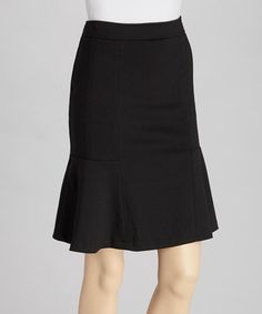 Take a look at this Black Ponte Fit & Flare Skirt by NYCC on #zulily today!