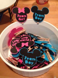 Gender reveal- team boy team girl tags for guest- disney themed-  Check us out on Facebook and Etsy! Facebook.com/katiescraftycreations Etsy.com/shop/katiecraftycreations