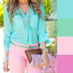 Summer colours: pink, aqua, green