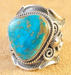 Turquoise Soul  . . .                  NAVAJO ANDY CADMAN NATURAL BLUE GEM TURQUOISE RING