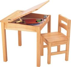 Pintoy Natural Wooden Desk And Chair by Pintoy - Pintoy Toys