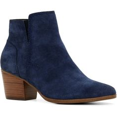 ALDO Lillianne Boots ($90) ❤ liked on Polyvore featuring shoes, boots, ankle booties, ankle boots, navy suede, suede booties, suede bootie, faux suede booties and navy blue booties