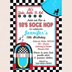 Printable 50s Birthday Party Invitation Sock Hop Invitation