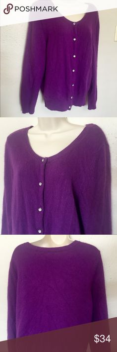 Purple Cashmere Sweater w/ Rhinestone Buttons / XL Gorgeous and SO soft! Buttons are clear rhinestone.   Thank you SO much for visiting my Posh Closet.  If you have questions just let me know.  Feel free to make an offer and/or bundle.  Happy Shopping!!! 💕💕💕  C1. 2/1 Sweaters V-Necks