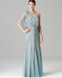Long One Sleeve Beaded Blouson Dress