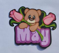 Paper piecing title May mothers day flowers scrapbook pages layouts roses